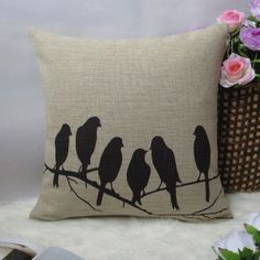 1 handmade cotton linen simple black six birds printed by linxge, $20.00