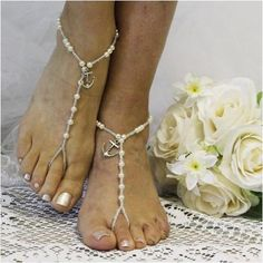 Breathtaking silver rhinestone and pearl barefoot sandals add a little Oh La La to your wedding. Our lovely barefoot sandals have a pearl detail that makes you feel like you are a princess wearing the Barefoot Sandals Wedding, Bridal Sandals, Barefoot Shoes, Wedding Shoes, Blue Sandals, Bare Foot Sandals, Summer Sandals, Soleless Sandals, Blond