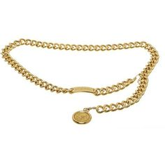 Pre-Owned Chanel Gold Chain Medallion Belt (8 970 ZAR) ❤ liked on Polyvore featuring accessories, belts, multi, gold chain belt, chain belts, hook belt, chanel and chanel belt
