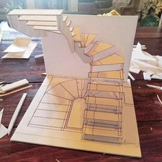 Look at this cool painted staircase - what a very creative type Architecture Symbols, Architecture Model Making, Architecture Concept Drawings, Stairs Architecture, Architecture Details, Interior Architecture, Spiral Stairs Design, Staircase Design, Curved Staircase
