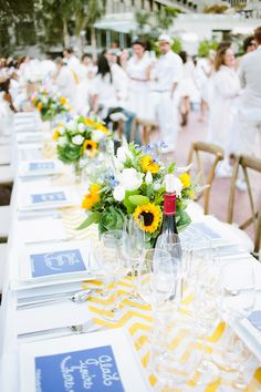Obsessed with these fun runners and adorable welcome signs! (Event Production by Hand Made Events Table Design by PopUp Weddings Photography by Sorella Muse Photography Florals by Farmgirl Flowers) #ledinersf2014 #popupweddingsbyhme #tablesetting #gladyourehere #blueandyellow