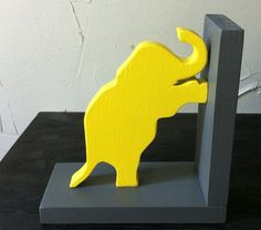 Pair of Yellow & Grey Gray Elephant Bookends  by ProfessorFinley, $34.00