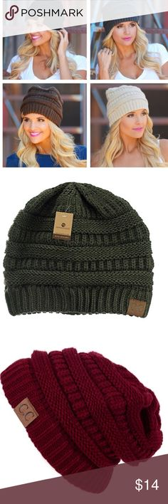 Super cute C.C slouchy beanies!  Dark olive, navy blue and maroon. All the same style. Unisex -Warm Chunky Ribbed Cable Knit Beanie Skully is thick and soft. Large enough to wear over ears. One of our more popular beanie hats. Great comfortable fit. GREAT Quality! The Hottest Styles worn by Celebrities for ladies and teens. Makes a great Christmas gift! Wear as a straight short beanie skully or slide on and pull back and down to achieve the slouch look. C.C. Accessories Hats