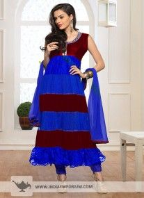 Blue & Maroon Semi Stitched Suit
