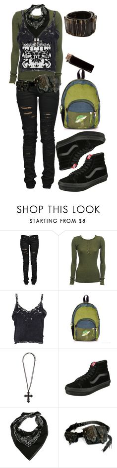 """""""green and black"""" by savemefrommyhumanity ❤ liked on Polyvore featuring Denim of Virtue, Vanessa Bruno, The Cassette Society, Vans, Apples and Bolongaro Trevor"""