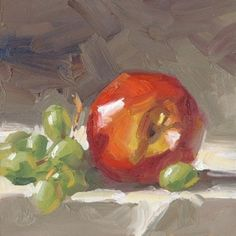 DAILY PAINTING, GREEN GRAPES & APPLE STILL LIFE BY TOM BROWN