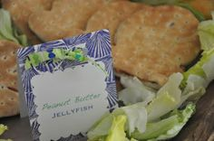 "pirate food - ""jelly fish"" pb sandwiches made with the Goldfish bread! Brilliant!!!"