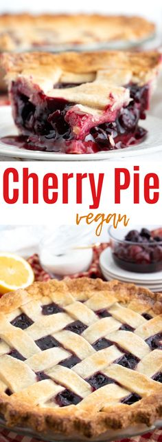 This easy vegan cherry pie is so delicious and easy to make! Made with a crisp, buttery homemade crust and a sweet vanilla, lemon and cherry filling! Healthy Vegan Desserts, Vegan Dessert Recipes, Great Desserts, Delicious Vegan Recipes, Vegan Sweets, Vegan Snacks, Dairy Free Recipes, Delicious Desserts, Vegan Meals