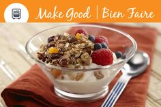 Do you have a favourite way to eat your granola? With our Cinnamon Vanilla Granola you can enjoy it sprinkled over fruit or layered in a yogurt parfait. Or maybe you prefer to keep a small bowl on hand as a healthy and delicious snack idea? Share your #makegood go-to granola ideas.