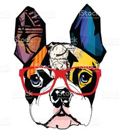 Portrait of french bulldog wearing sunglasses royalty-free stock vector art Portrait of french bulldog wearing sunglasses - Vector illustration Boston Terrier Kunst, Boston Terrier Love, Boston Terriers, Boston Terrier Tattoo, French Bulldog Drawing, Cute French Bulldog, Bulldog Puppies, Terrier Puppies, Mastiff Dogs