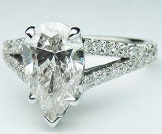 Pear Diamond Engagement Ring Trellis Curved Pave Split Band