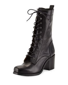 X2UGY Frye Kendall Leather Lace-Up Boot, Black