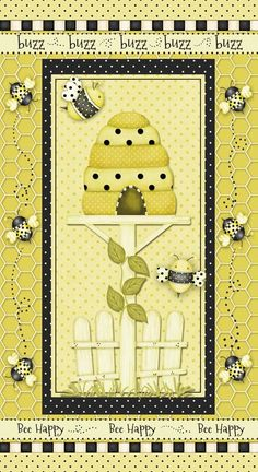 NEW++Henry+Glass+Fabric++Bee+Happy++Bees+by+BelloBerryFabricShop,+$6.25