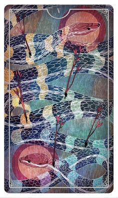 Five of Wands - Tarot Card Created for Ostara Tarot deck By Julia Iredale - If you love Tarot, visit me at www.WhiteRabbitTarot.com