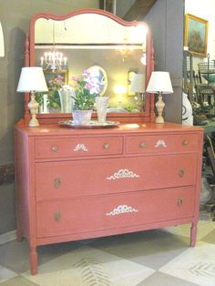 Antique Chest of Drawers with mirror painted in Scandinavian Pink Chalk Paint® by Annie Sloan and decorated with Efex moldings
