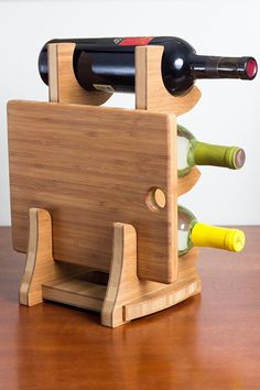 Countertop 3 bottle wine rack with cutting board