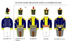 "Three squadrons of the 19th Light Dragoons served in the Canadas from May 1813 to August 1816. The 19th's ""New Pattern"" uniform of 1812 was worn in 1814."