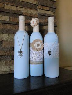 Shabby Chic Wine Bottle Decor Trip by HandmadewithloveCA on Etsy