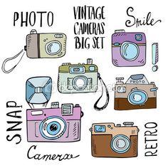 Kézzel rajzolt betűkkel retro kamerák beállítása — Stock Illusztráció #85777068