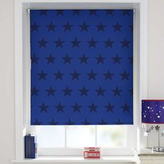 Kids Bedroom Blinds vibrant deep blue blackout bedroom roller blind | interior ideas