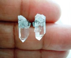 Raw Gemstone Stud Earrings   Mineral Jewelry  Clear by NaturalGlam, $19.00