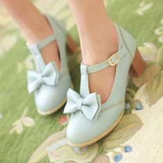 """Upper material: PU Sole Material: Rubber Style: Sweet Heel Height: 5cm/1.96"""" Color: white,pink,purple,blue eu35=225mm, eu36=230mm, eu37=235mm, eu38=240mm, eu39=245mm, please check your foot length,choose the size what you take! Tips: *Please double check above size and conside..."""