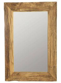Prachtig warme uitstraling door die houten omlijsting.  Housedoctor Spiegel met frame van recycled wood, Pure nature, 60x90 cm