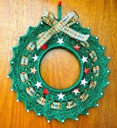 Corona de navidad en tejido crochet.
