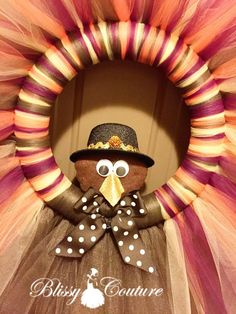 Tom the Turkey Tutu Tulle Thanksgiving Wreath by BlissyCouture