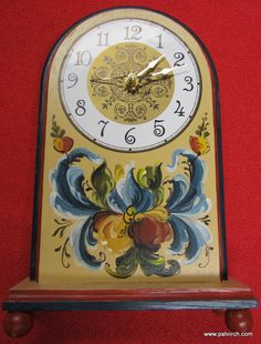 Norwegian Rosemaling-- Hand Painted Clock