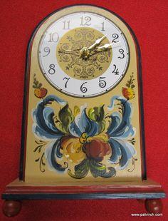 Norwegian Rosemaling-- Hand Painted Clock