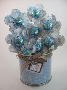 Blue Lindt candy bouquet