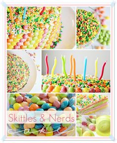Candy Cake. The tutorial shows how many drops of food coloring you'll need to match the cake to the Skittles. So FUN!