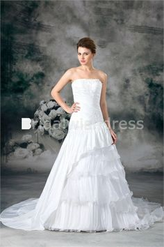 A-Line Strapless Court Train Organza Taffeta Embellished Wedding Dresses