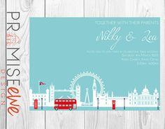 London Themed Wedding Invitation by BethanDdesigns on Etsy, £12.50