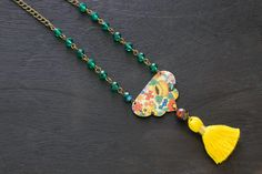 Long Colorful Boho Flower Child Tassel Necklace with Teal Blue Rosary Chain and Orange Czech Glass Bead, Unique Gift Idea for Her by MusingTreeStudios on Etsy https://www.etsy.com/listing/507042237/long-colorful-boho-flower-child-tassel