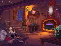 cartoon gretel hansel animation interior environment witch oven witches abode stylized cryptic backgrounds