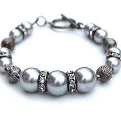 Silver pearl and rhinestone bracelet