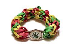 Pot Leaf Charm Rubber Band Bracelet  Jamaica Rasta by BungleBands