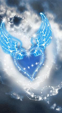 Blue Heart with Blue Wings. Cross Pictures, Heart Pictures, Beautiful Pictures, Heart Wallpaper, Love Wallpaper, Blue Wallpapers, Wallpaper Backgrounds, Art Texture, Heart Tattoo Designs