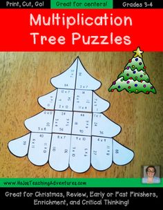 These Christmas Math Centers Multiplication Tree Puzzles make it quick and easy for teachers to provide hands on activities that meet the needs of all students! All three puzzles are engaging and fun!Want to save some money AND have multiplication math center puzzles for the entire school year?