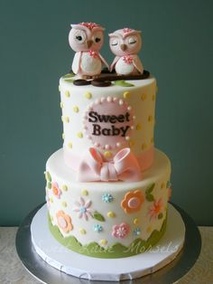 Sweet Mommy and Baby Owl Shower Cake - Made this for a friend of mine who was expecting her first baby and loves owls. The owls are made out of fondant.