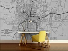 city map wallpaper street wall mural Atlanta map by 4KdesignWall