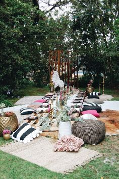 boho style party seating your guests will adore