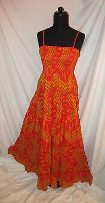Sz S Cache Tube Top Boho Chic Dress Full Length Oranges Golds Geometric Spaghetti