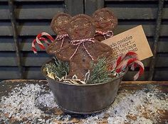 """Prim Handmade Gingerbread Man """"Cookies"""" & Candy Canes in Vintage Tin Jello Mold"""