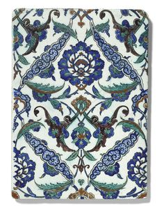 Iznik pottery at Sotheby's London, 25 April 2018 - Alain. Turkish Tiles, Turkish Art, Tile Patterns, Print Patterns, Baroque Art, Custom Metal, Tile Art, Religious Art, Islamic Art