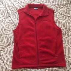 Red Columbia Fleece Vest Great condition Columbia vest! Red fleece for warmth and style, size SMALL! This is a Men's size for a looser fit. Very flattering and comfortable! I have never personally worn it, but purchased from another user. Great addition to your closet! Make me an offer☺️ Columbia Jackets & Coats Vests