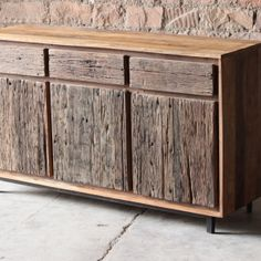 Handmade from upcycled railway track timber and reclaimed hardwood, this 3 door drawer sideboard offers a complimentary mixture of natural timber from different sources. Garage Furniture, Tree Furniture, Funky Furniture, Wooden Furniture, Furniture Projects, Furniture Design, Sideboard Design, Rustic Wooden Shelves, Barn Wood Frames