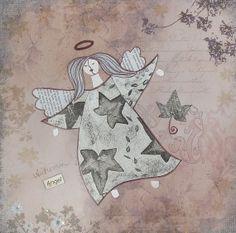 Autumn angel Original mixed media collage by ArtsandcraftsbyZuza, €70.00